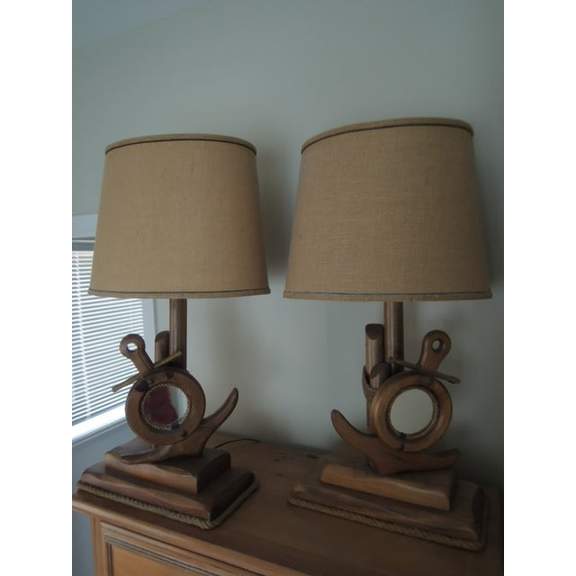 Nautical Lamps Ship Anchor + Port Hole Mirror Base 2 Hand Crafted Pine Wood Lamps. 2 Nautical Lamps, hand crafted by...