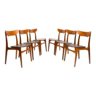 Vintage Danish Mid-Century Teak Dining Chairs by Schiønning & Elgaard - Set of 6 For Sale