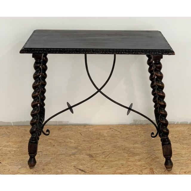 French 19th Century Salomonic Baroque Side Table With Carved Top and Iron Stretchers For Sale - Image 3 of 11