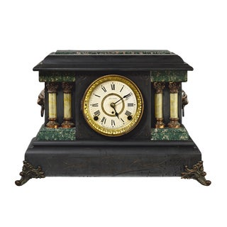 1900s Traditional Seth Thomas Magnolia Adamantine Black Mantle Clock For Sale