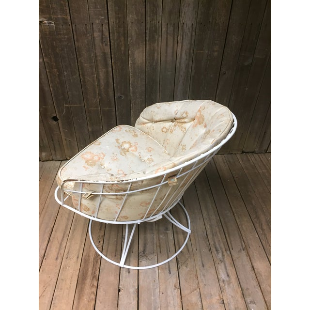 Mid Century Modern White Homecrest Swivel Metal Chair For Sale - Image 5 of 11
