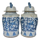 Image of Large Chinoiserie Blue and White Scroll and Leaf Ginger Jars, a Pair For Sale