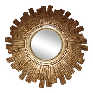 Vintage Mid Century Mid-Century Modern Sunburst Convex Gold Wall Mirror For Sale