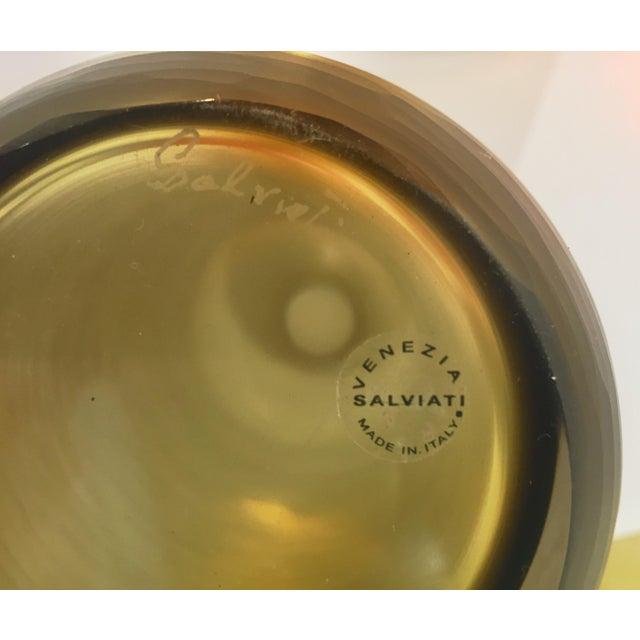 Glass Salviati Vintage Italian Smoked Amber Gold Battuto Murano Art Glass Vases - Set of 4 For Sale - Image 7 of 12