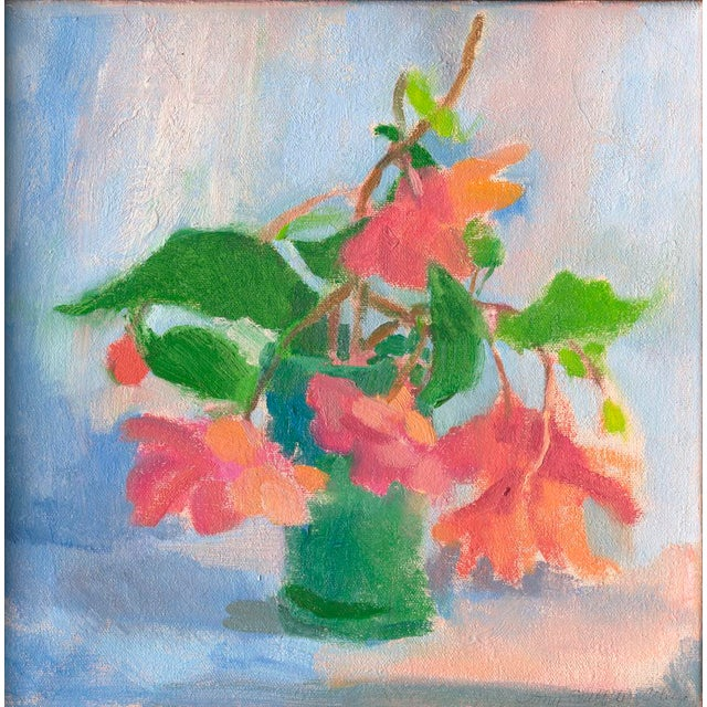 """Impressionist Amy Griffith Colley """"Begonias in Blue Green Vase"""" Still Life Painting For Sale - Image 3 of 3"""