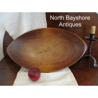 1800s Antique New England. Hand Hewn Walnut Wood Trencher Dough Bowl Preview