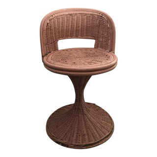 Vintage Wicker Swivel Chair For Sale