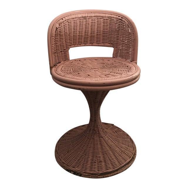 Vintage Wicker Swivel Chair For Sale