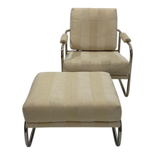 Stylish Mid-Century Modern Chrome and Upholstered Club Chair and Ottoman For Sale