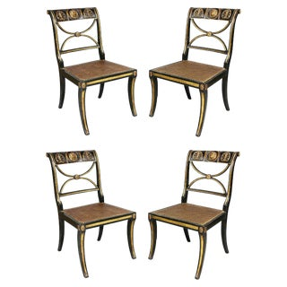 Set of Four Regency Ebonized and Giltwood Chairs For Sale