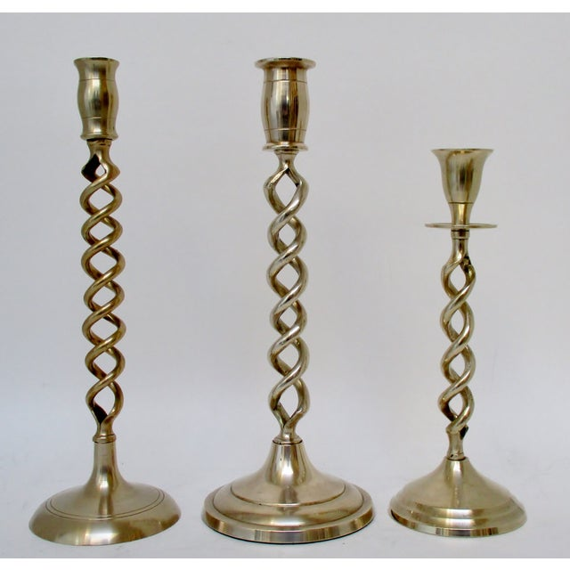 English Brass Mismatched Candlesticks, Set of 12 For Sale - Image 3 of 8