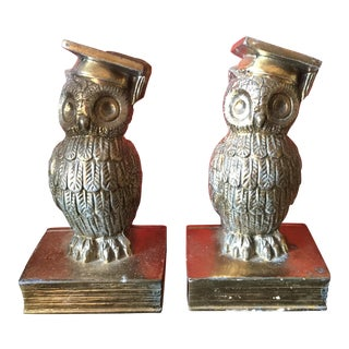 Colonial Virginia Brass Owl Bookends - Pair For Sale