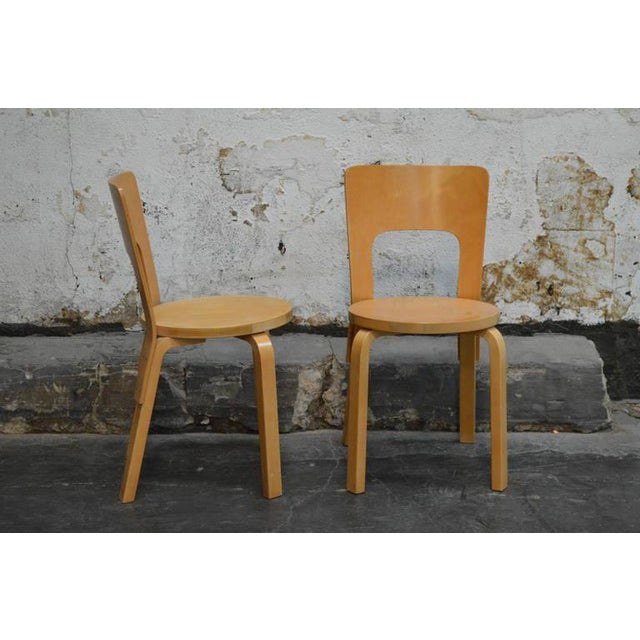 Mid-Century Modern Pair of Vintage No. 66 Alvar Aalto Chairs for Artek For Sale - Image 3 of 8
