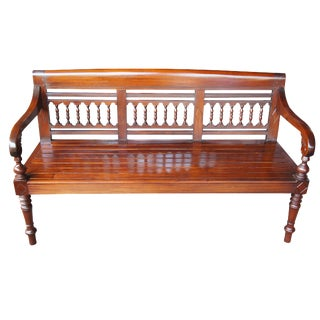 Late 20th Century Spanish Colonial Mahogany Carved Outdoor Indoor Spindle Back Bench For Sale