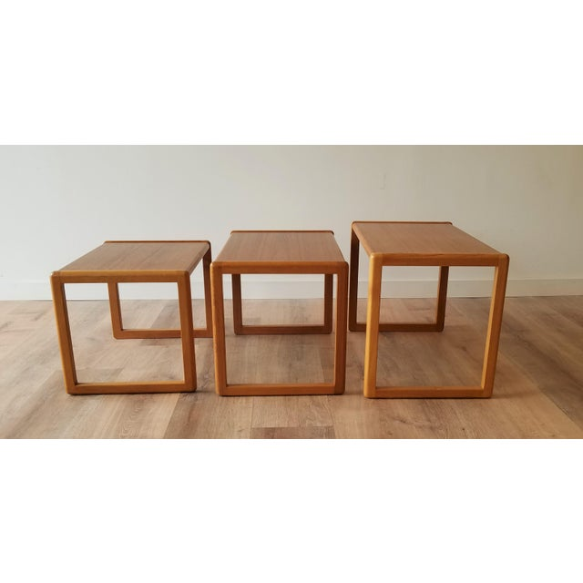 Mid-Century Modern 1960's Danish Teak Nesting Tables - Set of 3 For Sale - Image 3 of 11