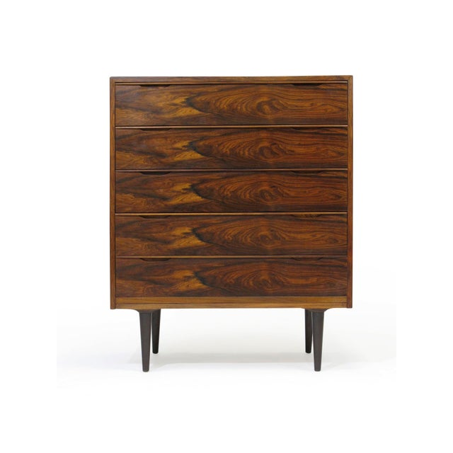 Red Vintage Mid Century Danish Brazilian Rosewood Chest of Drawers For Sale - Image 8 of 12
