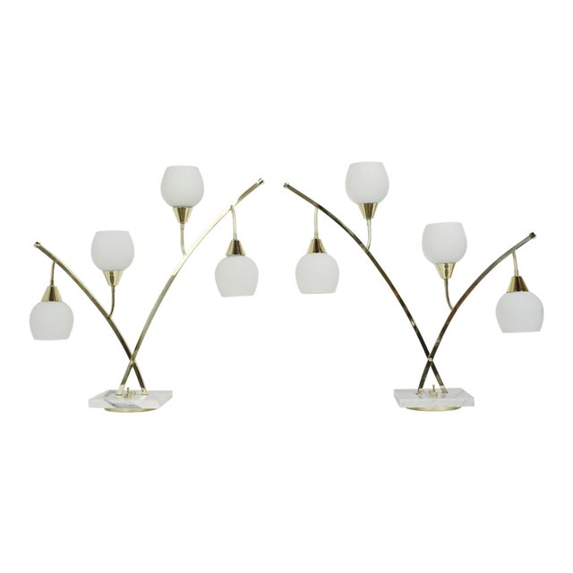 Expansive Narrow Brass & Marble Mid-Century 4-Light Table Lamps W/ Glass Shades For Sale