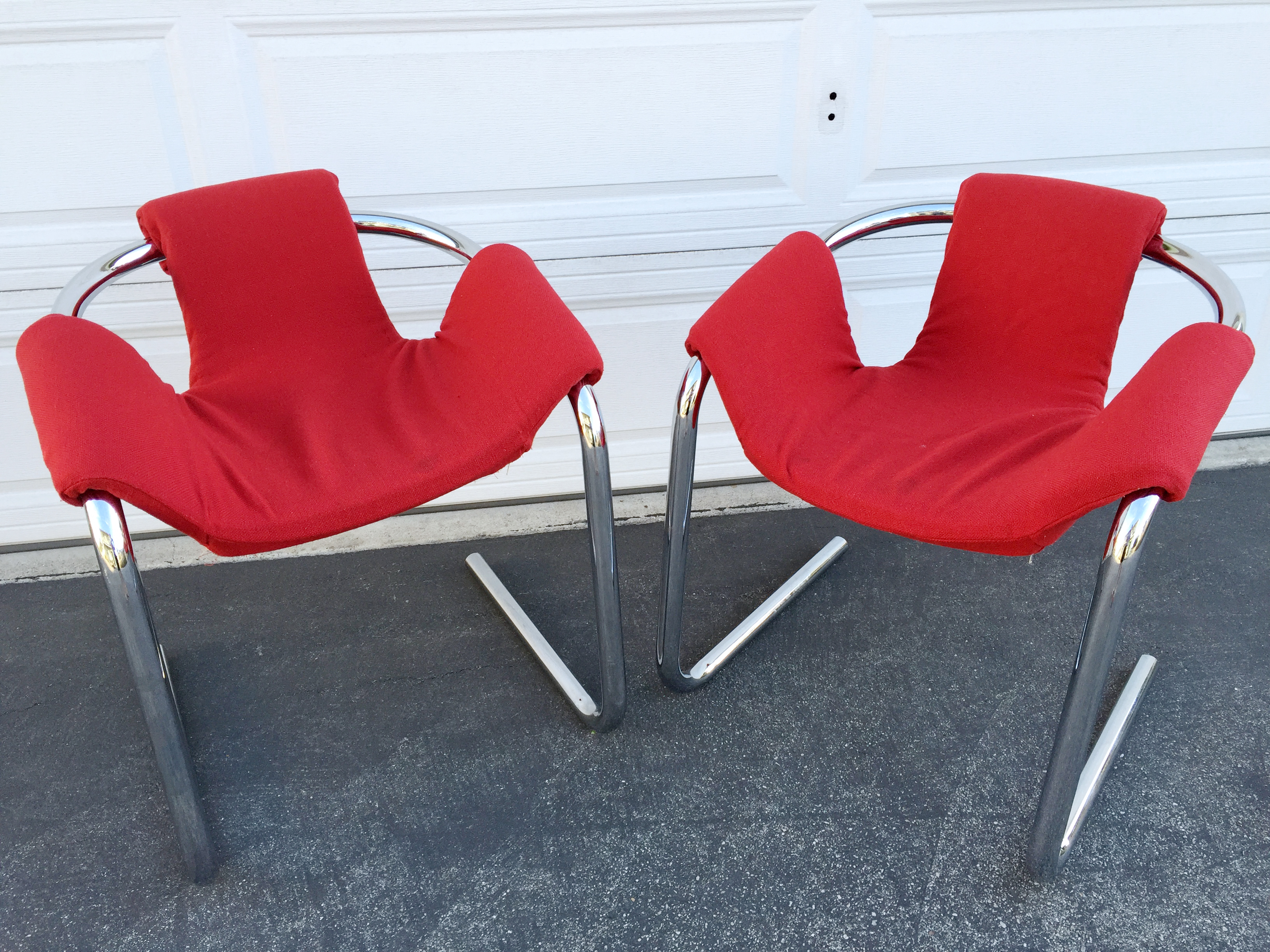 Vecta Vintage Zermatt Chrome Sling Chairs   A Pair   Image 2 Of 7