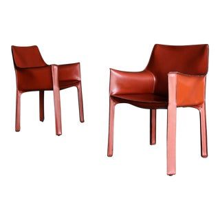 """Mario Bellini Red Leather """"Cab"""" Chairs for Cassina, Circa 1985 For Sale"""