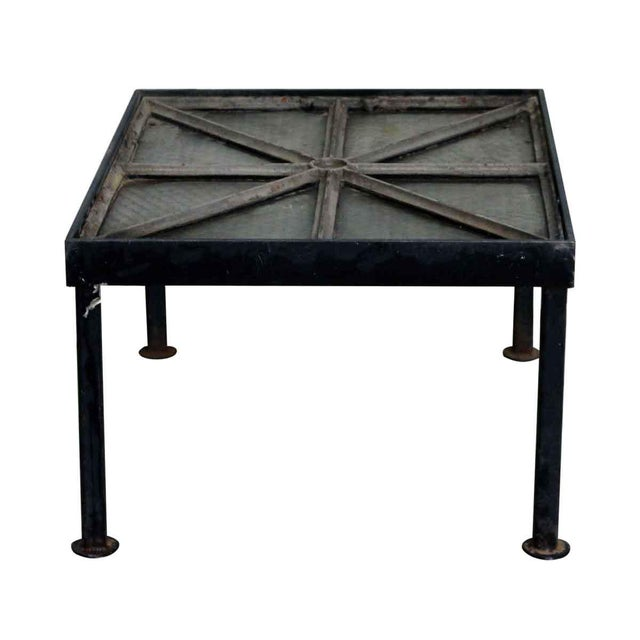 Cast Iron Frame Chicken Wire Glass Window Table - Image 3 of 5