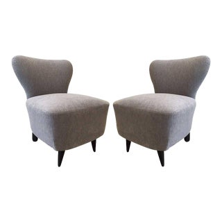 Pair 1930s French Slipper Chairs For Sale