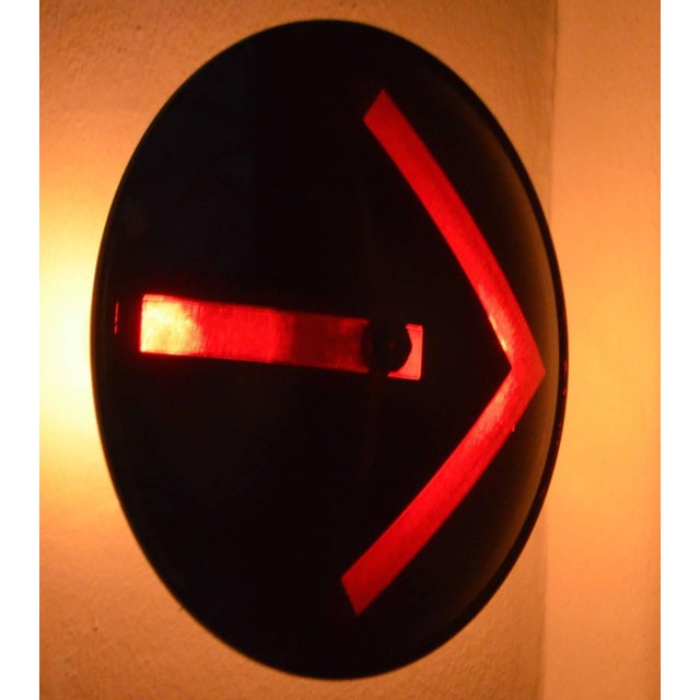 Traffic signal light, turn-arrow directional's of glass made into a wall sconce. Never-used lens from Kopp Manufacturing...