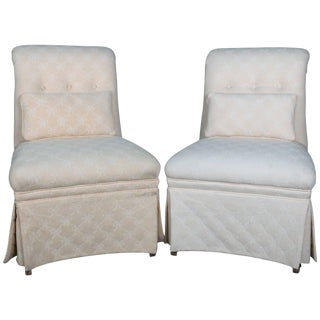 20th Century Vintage Petite Scroll Back Upholstered Slipper Chairs - a Pair For Sale