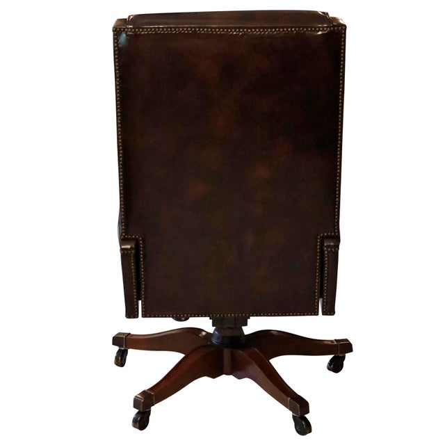 Baker Furniture Company Executive Leather Desk Chair by Baker Furniture For Sale - Image 4 of 9