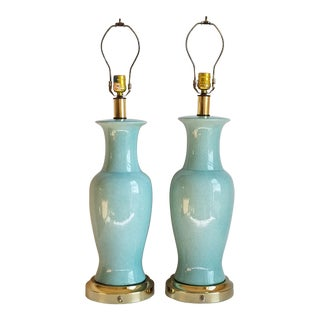 Hollywood Regency Style Crackle Glaze Table Lamps - a Pair