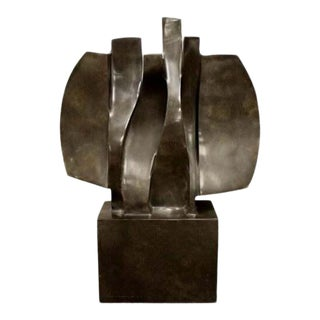 Contemporary Modern Marble Abstract Table Sculpture Signed Faustino Aizkorbe 90s For Sale