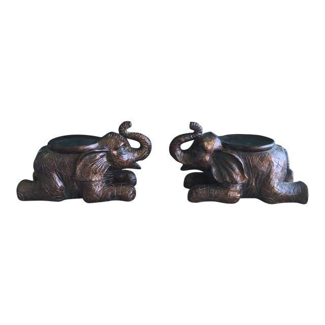Large Elephant Trunks Up Pillar Candle Holders/Planter Stands - Set of 2 - Image 1 of 11
