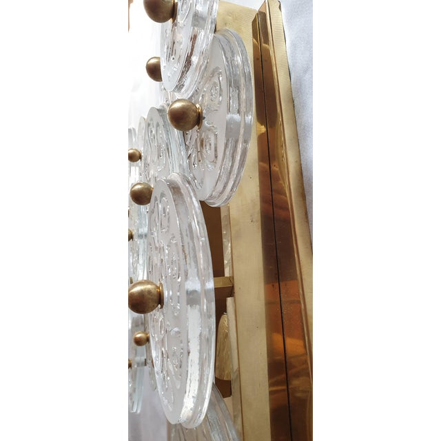 Transparent Mid Century Modern Murano Glass & Brass Sconces by Vistosi Italy 1960s - 2 Pairs For Sale - Image 8 of 9