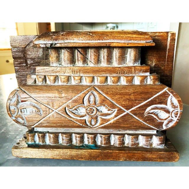 English Anglo Indian Carved Light Teak Architectural Half Pillar Pilaster Capital Column Top For Sale - Image 3 of 13
