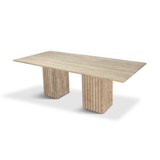 Hollywood Regency Travertine Dining Table in the Style of Carlo Scarpa and Angelo Mangiarotti For Sale - Image 3 of 11