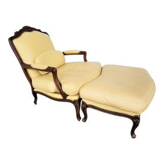 Chateau d'Ax Genuine Leather French Louis XV Style Fauteuil Chair With Ottoman For Sale