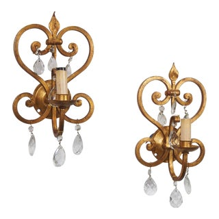 French One Light Gilded Iron and Crystal Sconces - Pair For Sale