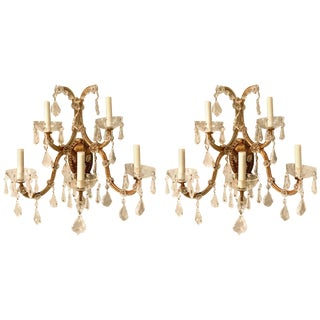 Pair of Vintage Italian Gilt Metal and Crystal Sconces For Sale