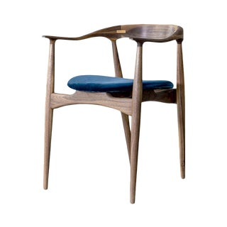 Korsu Walnut and Velvet Dining Chair by Atra For Sale