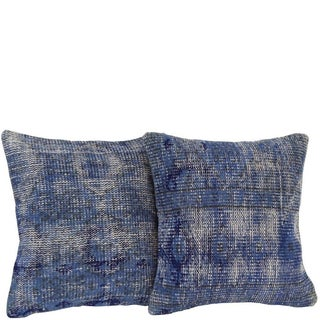 Blue Handmade Overdyed Pillow Covers - Pair For Sale