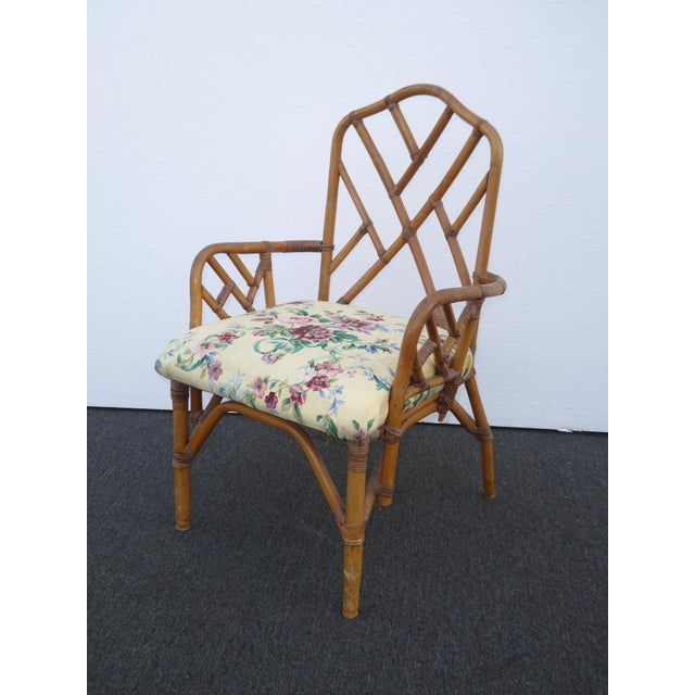 Floral Accent Chairs.Vintage Mid Century Chinese Chippendale Bamboo Rattan Gold Floral Accent Chairs A Pair