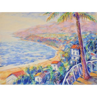 """""""View Towards Malibu, California"""" Contemporary Landscape Mixed-Media Painting For Sale"""