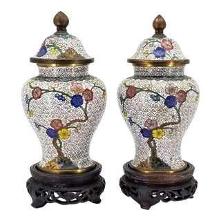 Antique Chinese Cloisonne Ginger Jars With Flowers and Geometric Designs With Rosewood Bases - a - Pair For Sale