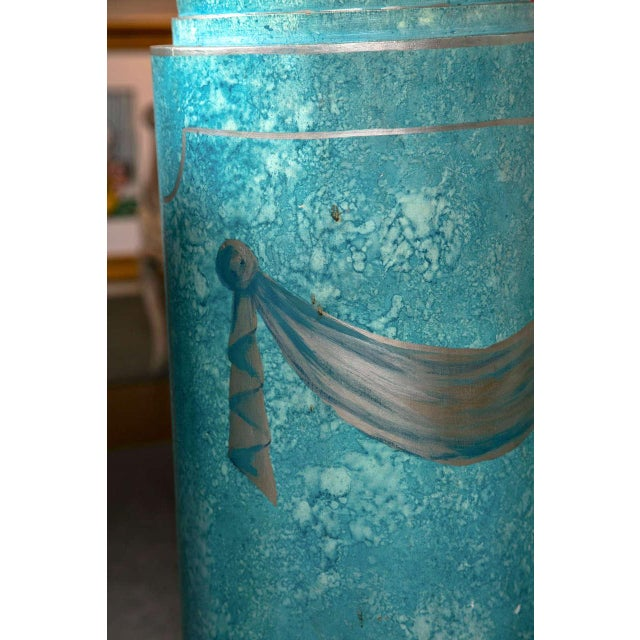 Blue Painted Pedestals - A Pair For Sale - Image 5 of 8