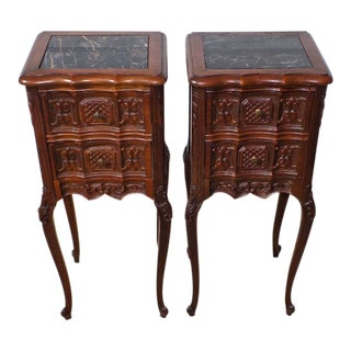 1930s French Country Rococo Oak Marble Top Nightstands - a Pair For Sale