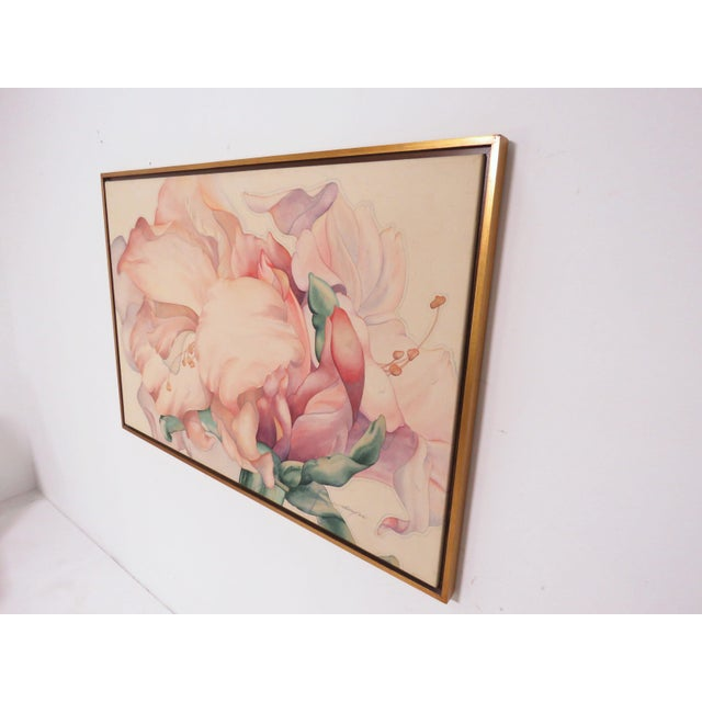 "Peach Large Scale Floral Painting Titled ""Audible Blooms"" by Daryl D. Johnson For Sale - Image 8 of 13"
