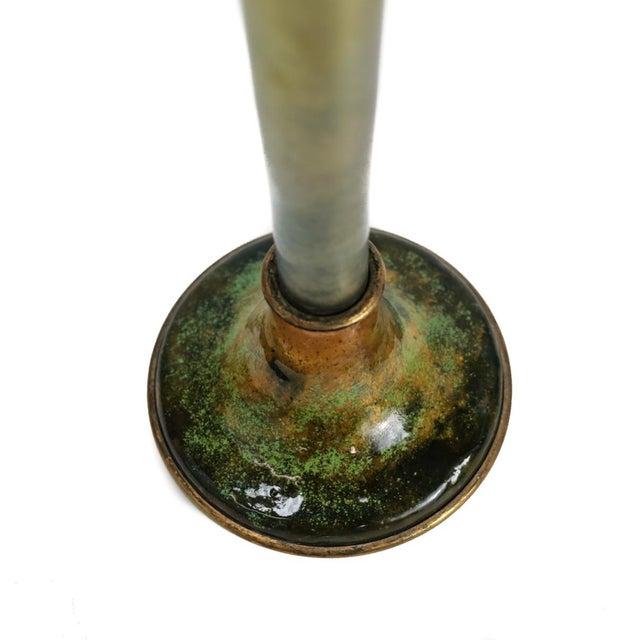 1900 Antique Louis C. Tiffany Favrile Furnaces Trumpet Vase on Bronze Enamel Base - Image 3 of 5