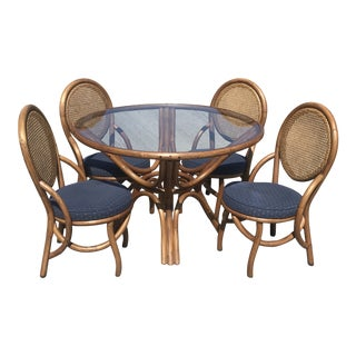 Mid Century Modern Kap-Son Rattan Dining Set For Sale