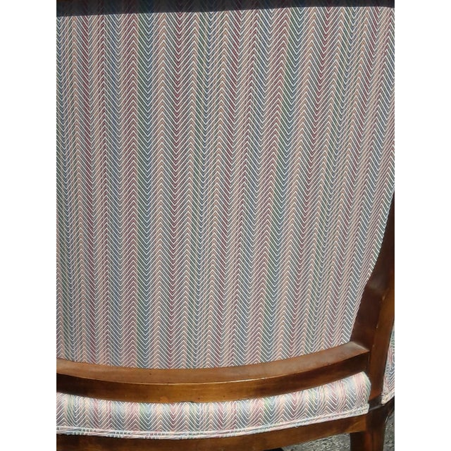 Textile 1950s French Provincial Walnut Bergere Chair For Sale - Image 7 of 8