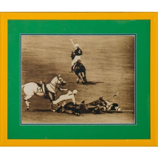 Two Polo Players Down B&w Framed Photo For Sale