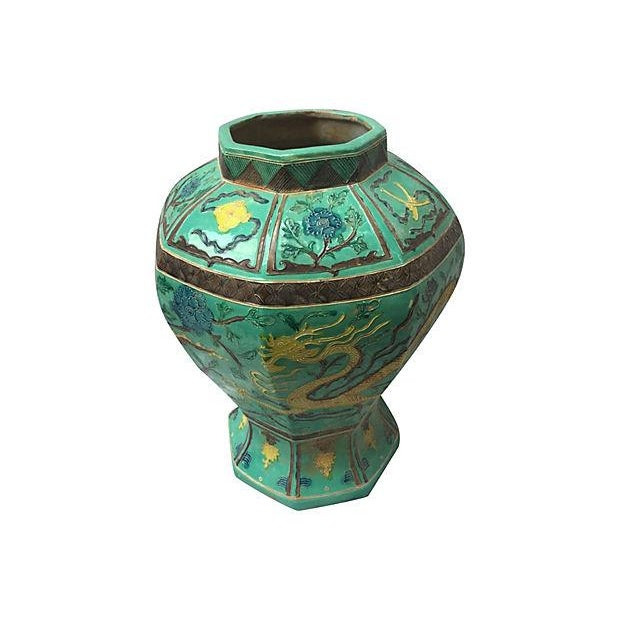 Green Hand-Painted Dragon Porcelain Vase For Sale In Los Angeles - Image 6 of 7